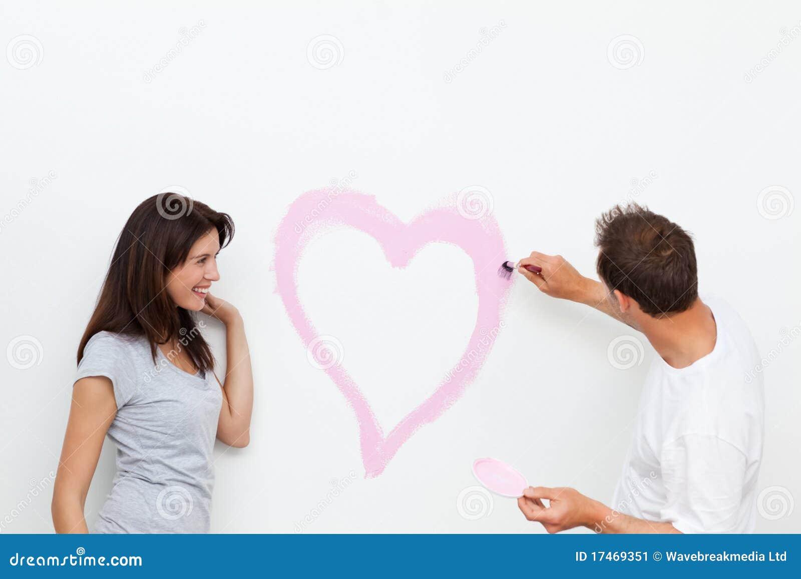 Chłopaka serce obraz jej przyglądająca kobieta