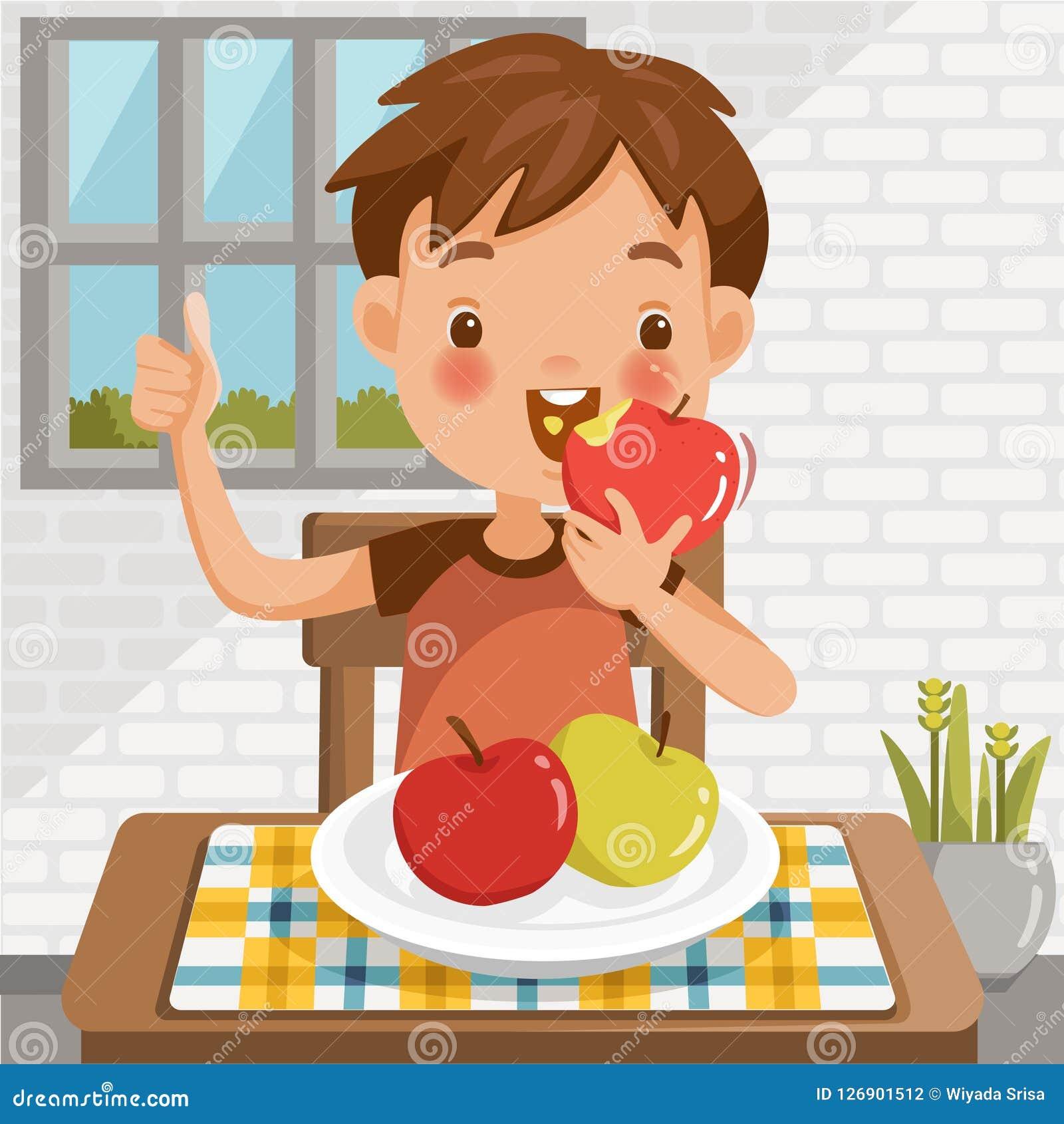 Chłopcy jabłkowy jedzenie