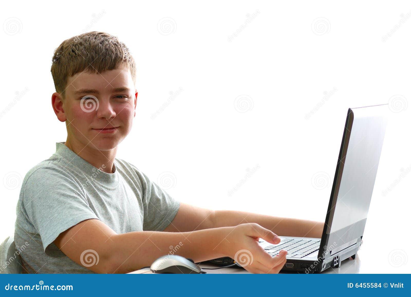 Chłopcy laptop