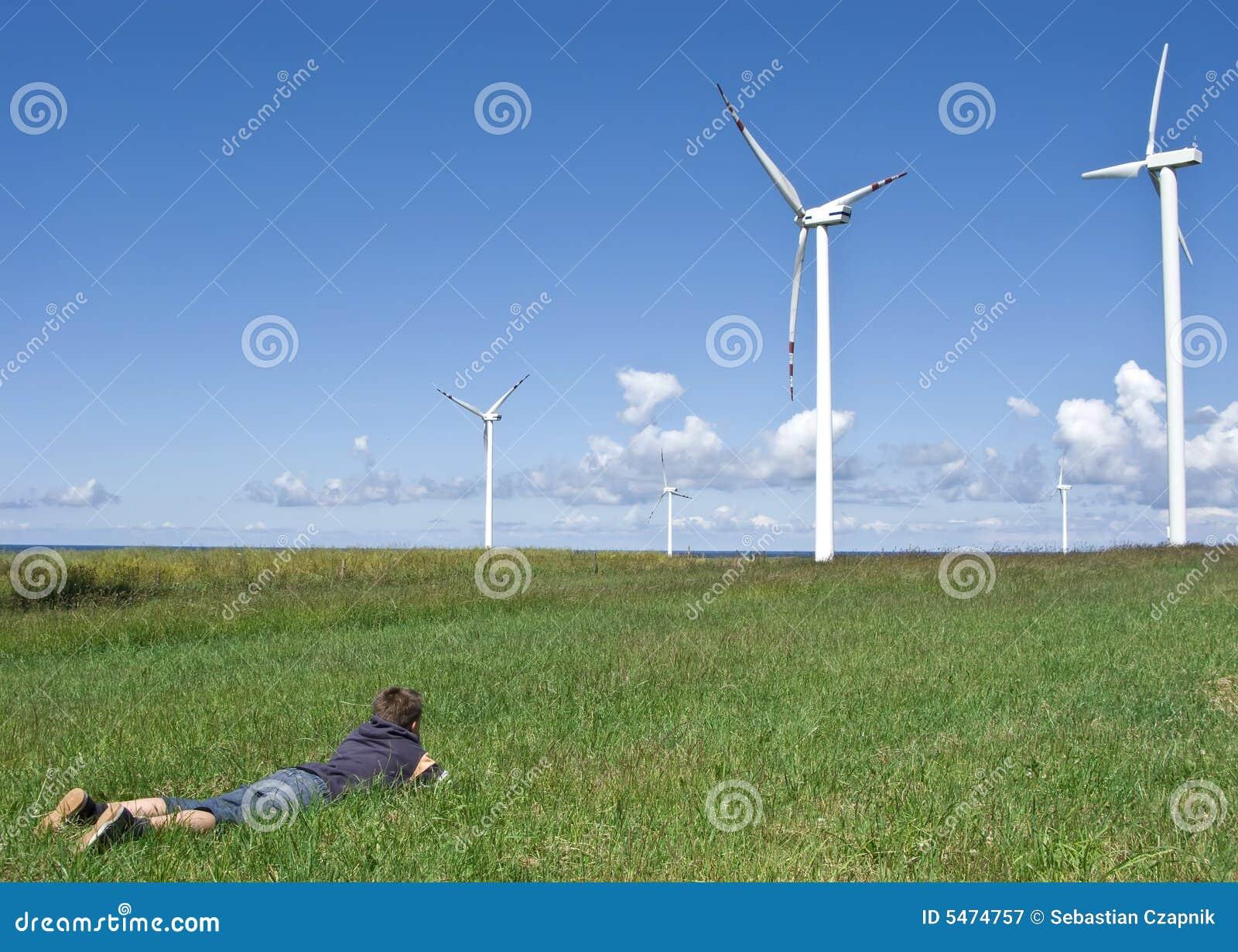 Chłopcy turbiny wiatr