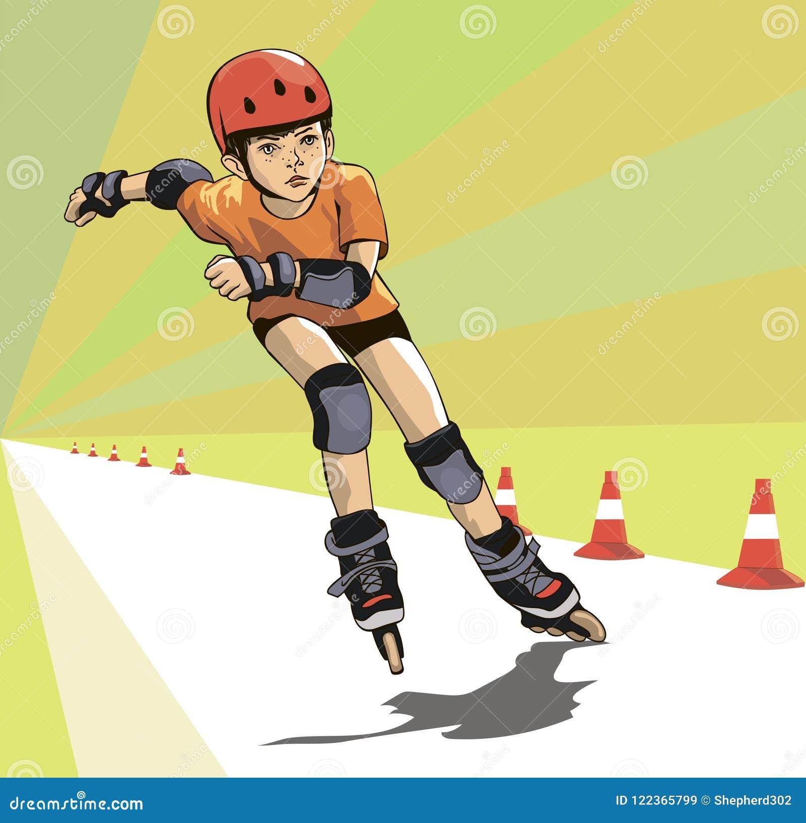 Chłopiec biega rolkowych skatecross