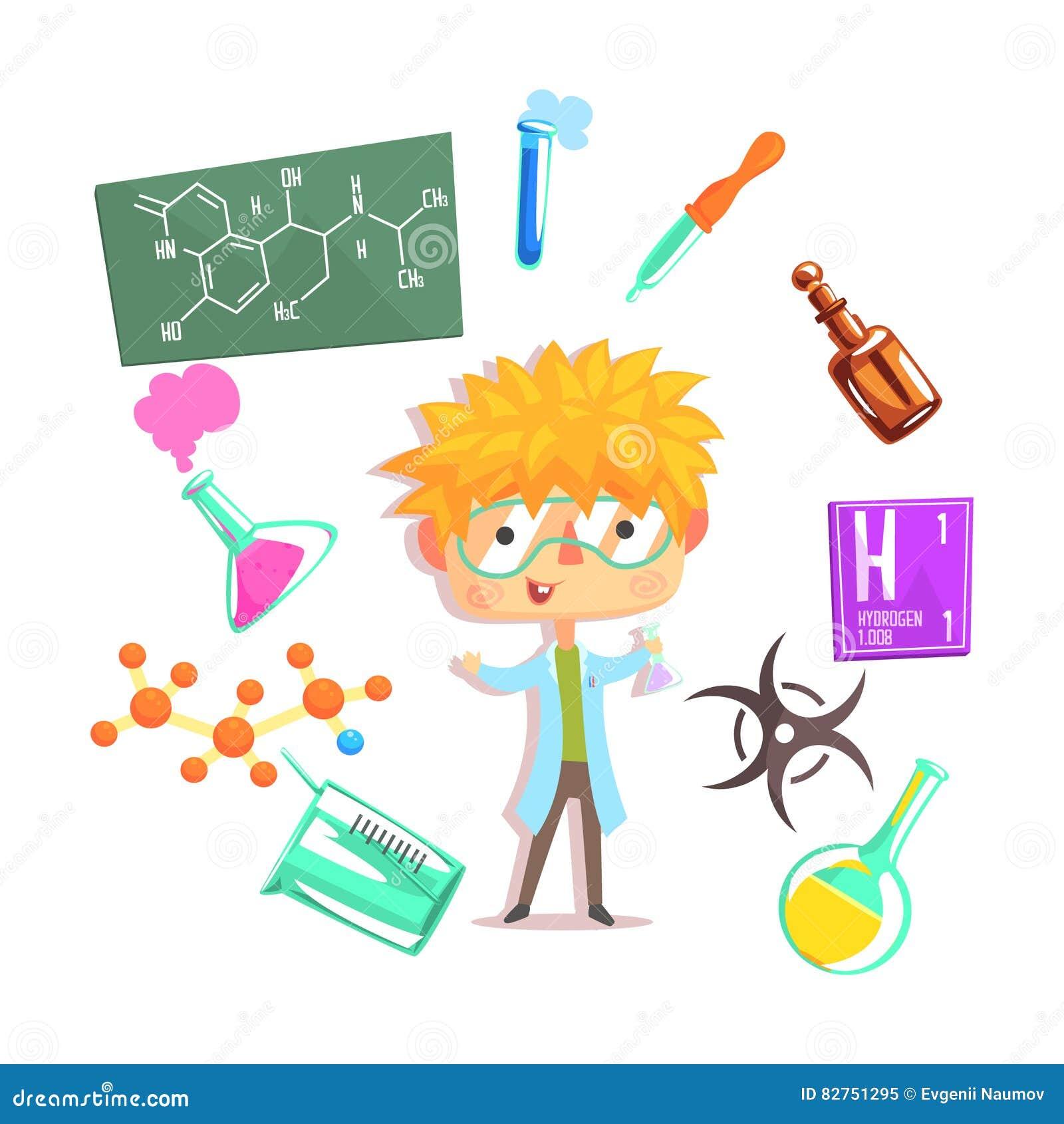 Chłopiec chemik, dzieciak przyszłości sen zajęcia Fachowa ilustracja Z Powiązanym zawodów przedmioty