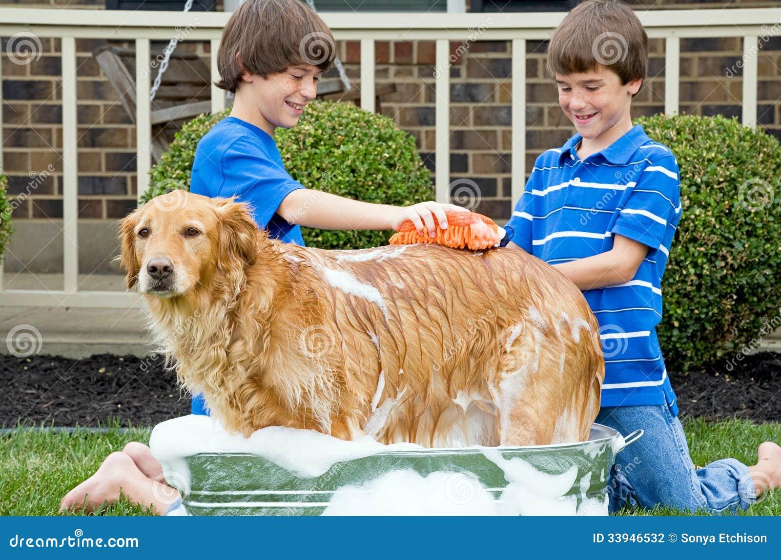 Chłopiec Daje psu skąpaniu