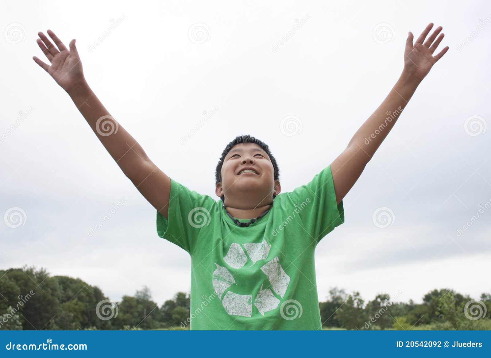 Chłopiec dojechania nieba