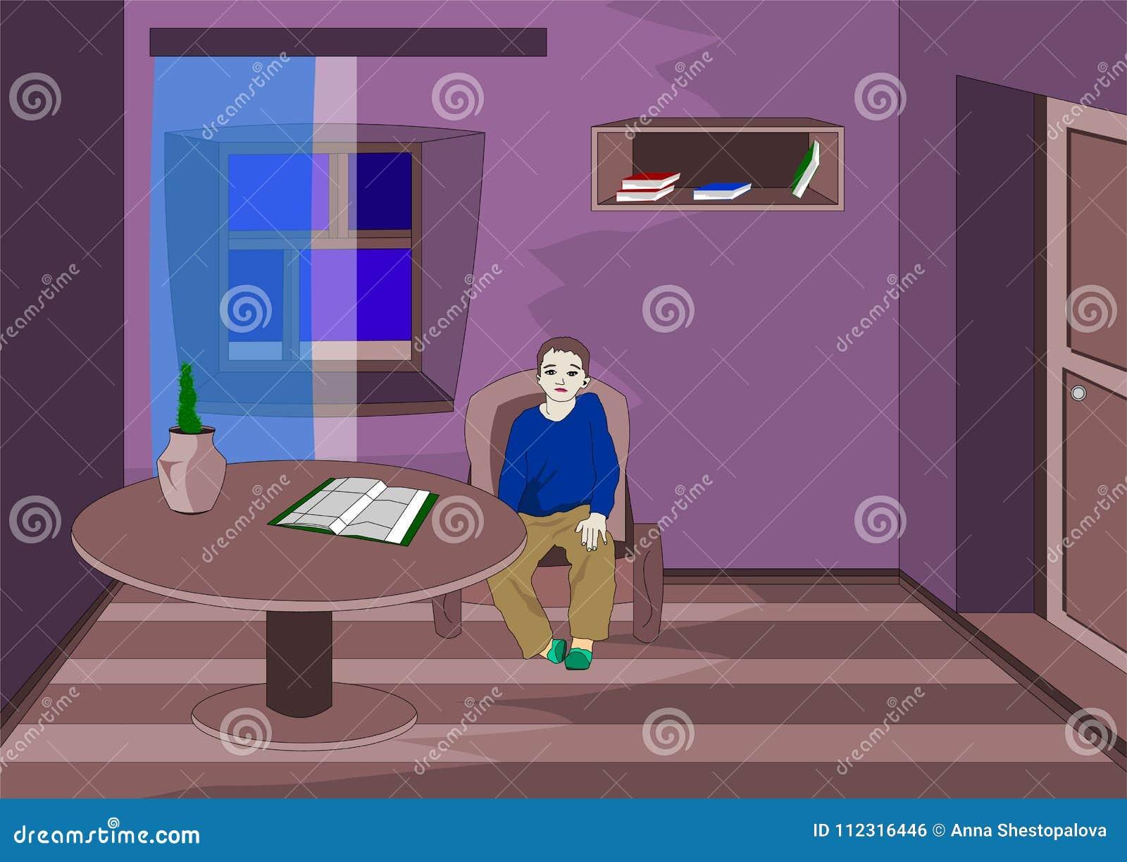 Chłopiec dostać złe oceny smutnym czekaniem dla rodziców z pracą i jest