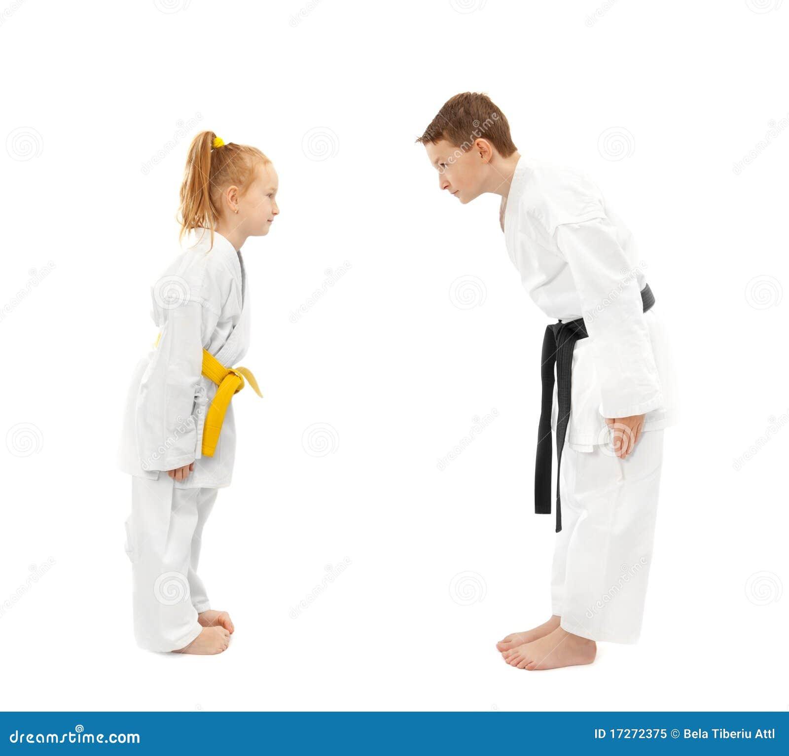Chłopiec dziewczyny karate