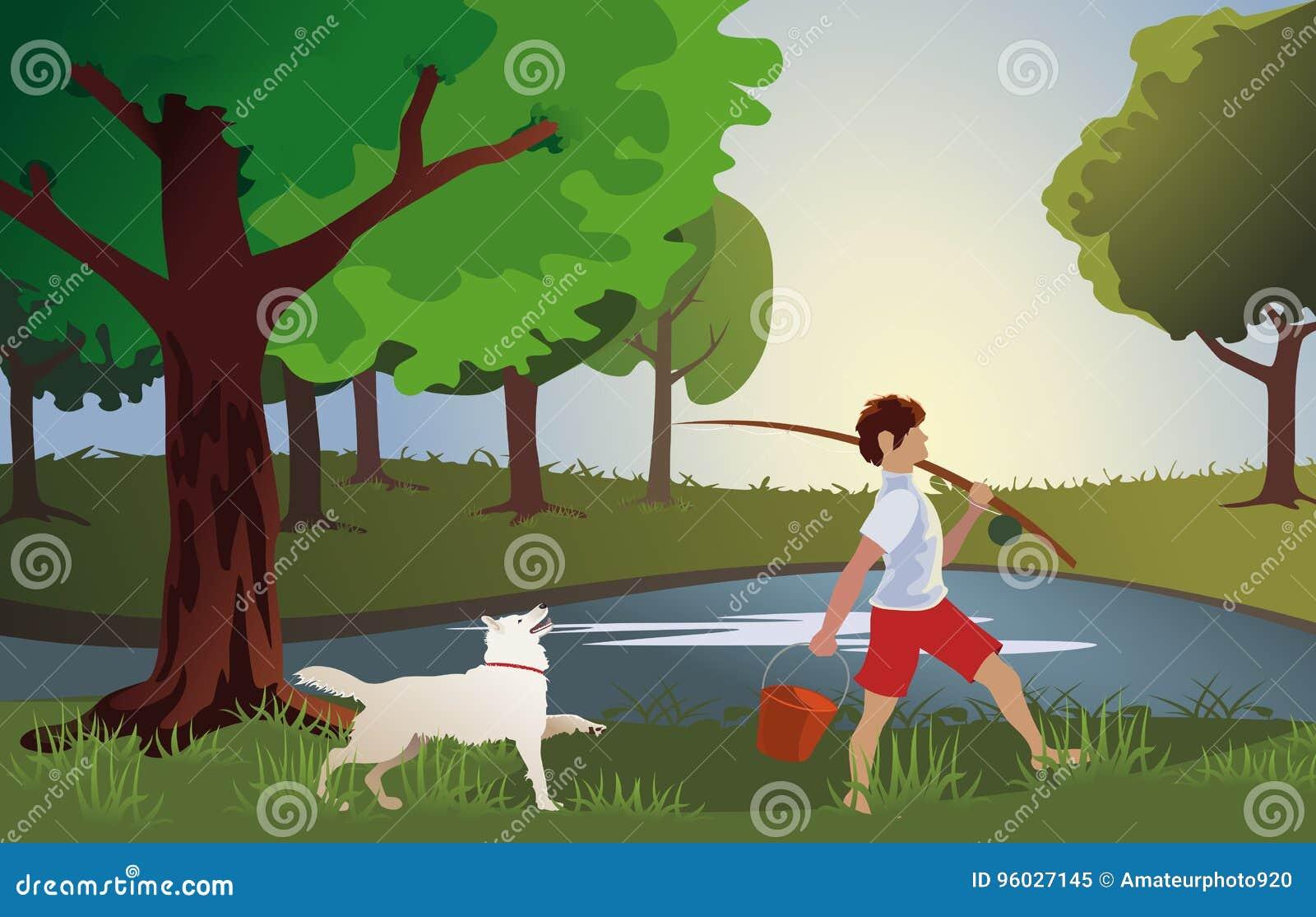 Chłopiec iść łowić z znacząco psem