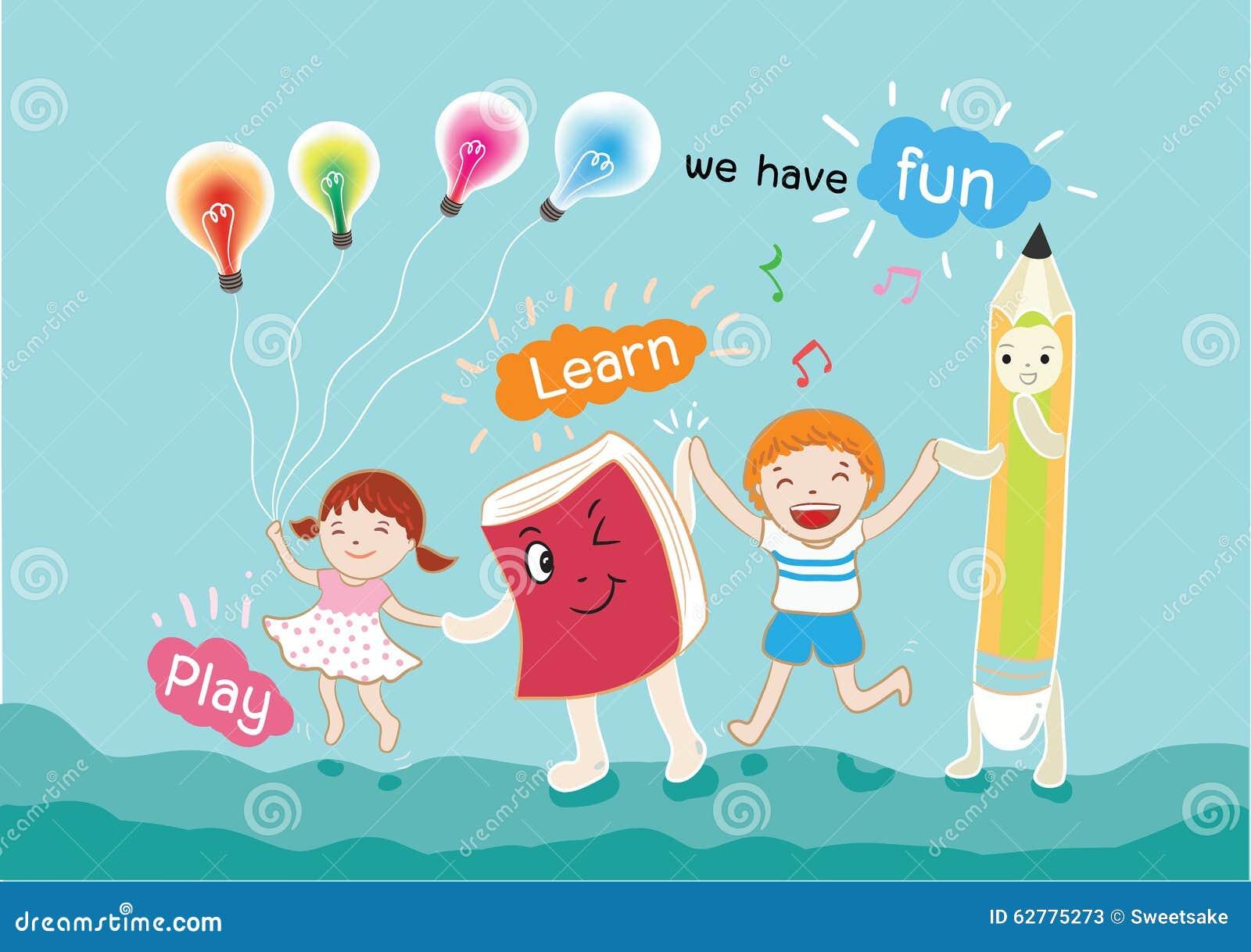 Chłopiec i dziewczyna zabawę dla uczyć się wektorową ilustrację