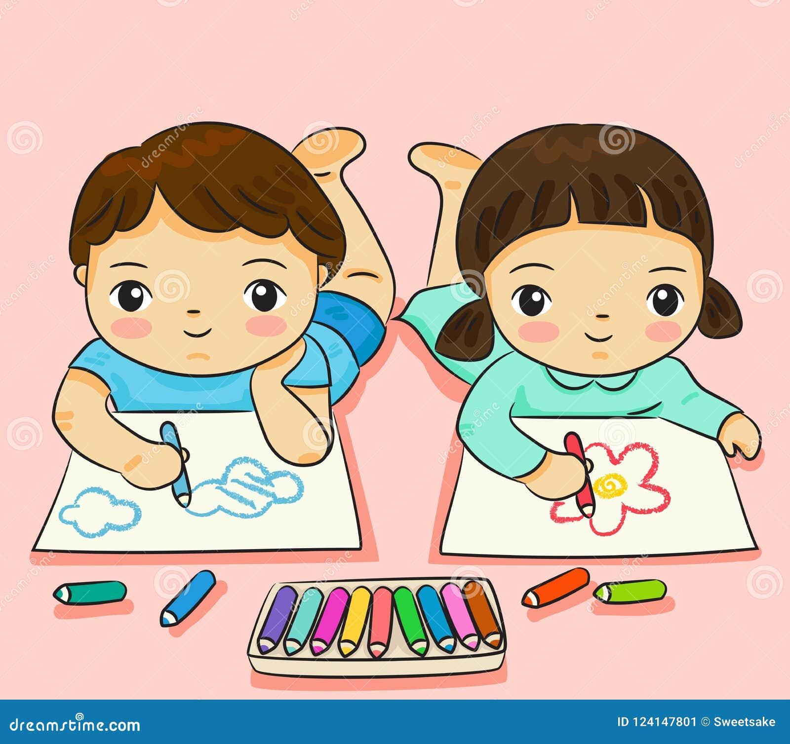 Chłopiec i dziewczyny rysunek z kolorowym na papierowej wektorowej ilustraci
