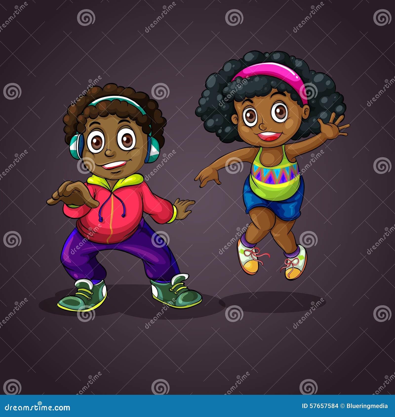Chłopiec komiczna dancingowa dziewczyny ilustracja stylizująca