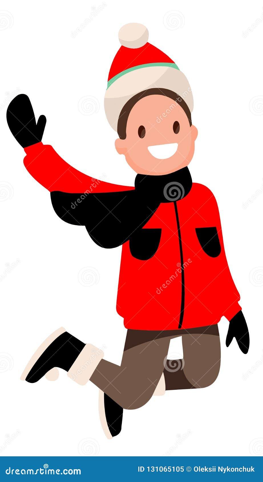 Chłopiec na białym tle w czerwieni ubrań skakać