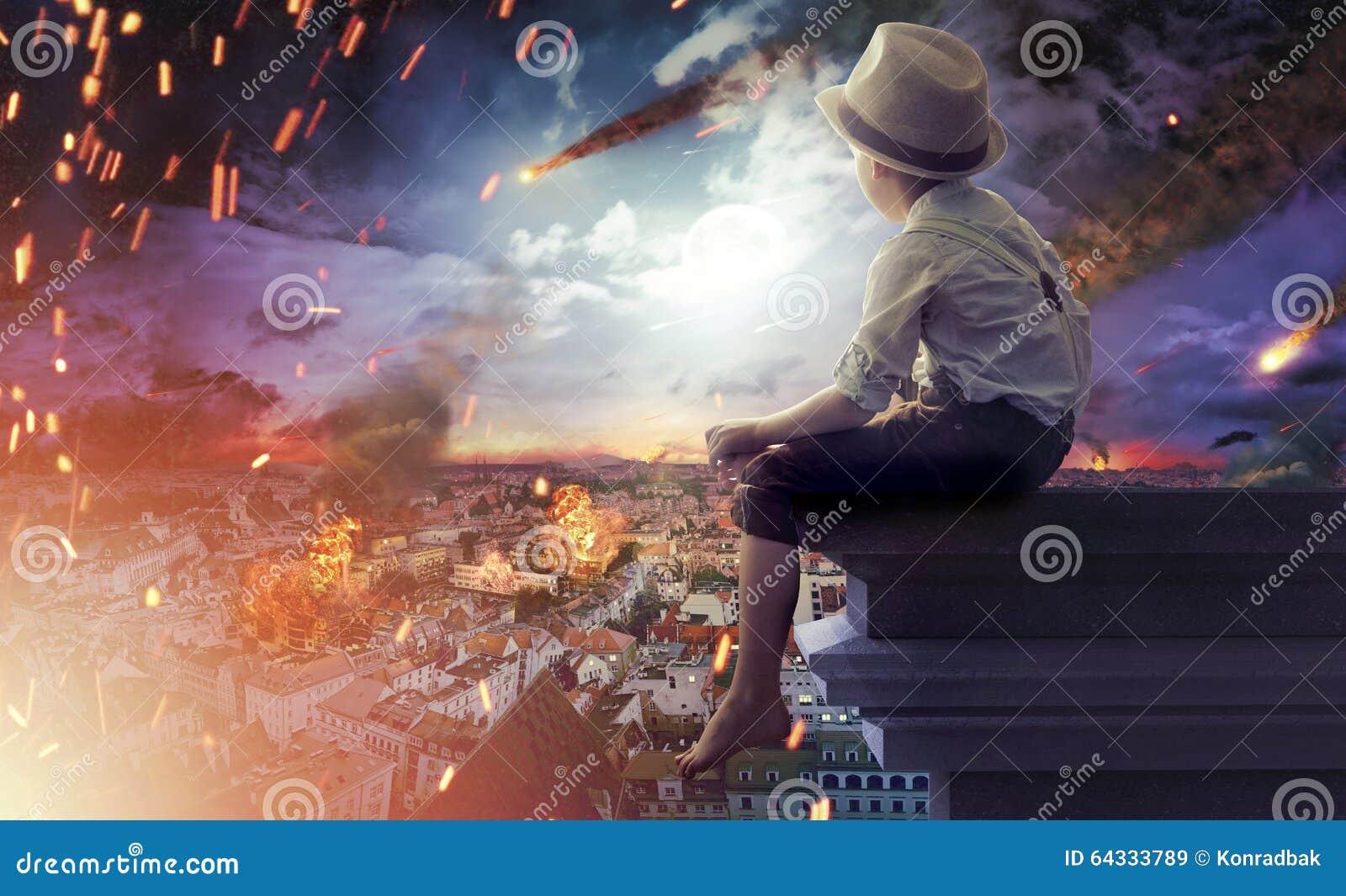 Chłopiec ogląda końcówkę świat
