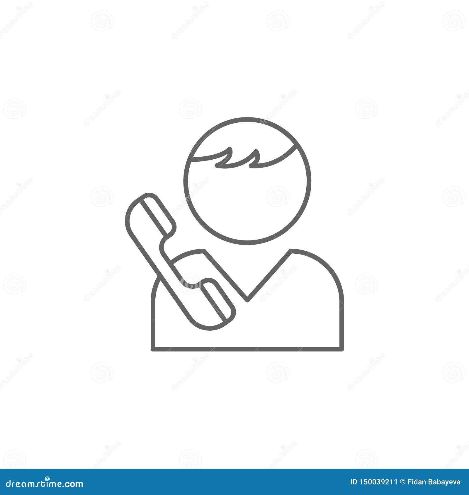 Chłopiec przyjaźni konturu wywoławcza ikona Elementy przyjaźni linii ikona Znaki, symbole i wektory, mogą używać dla sieci, logo,