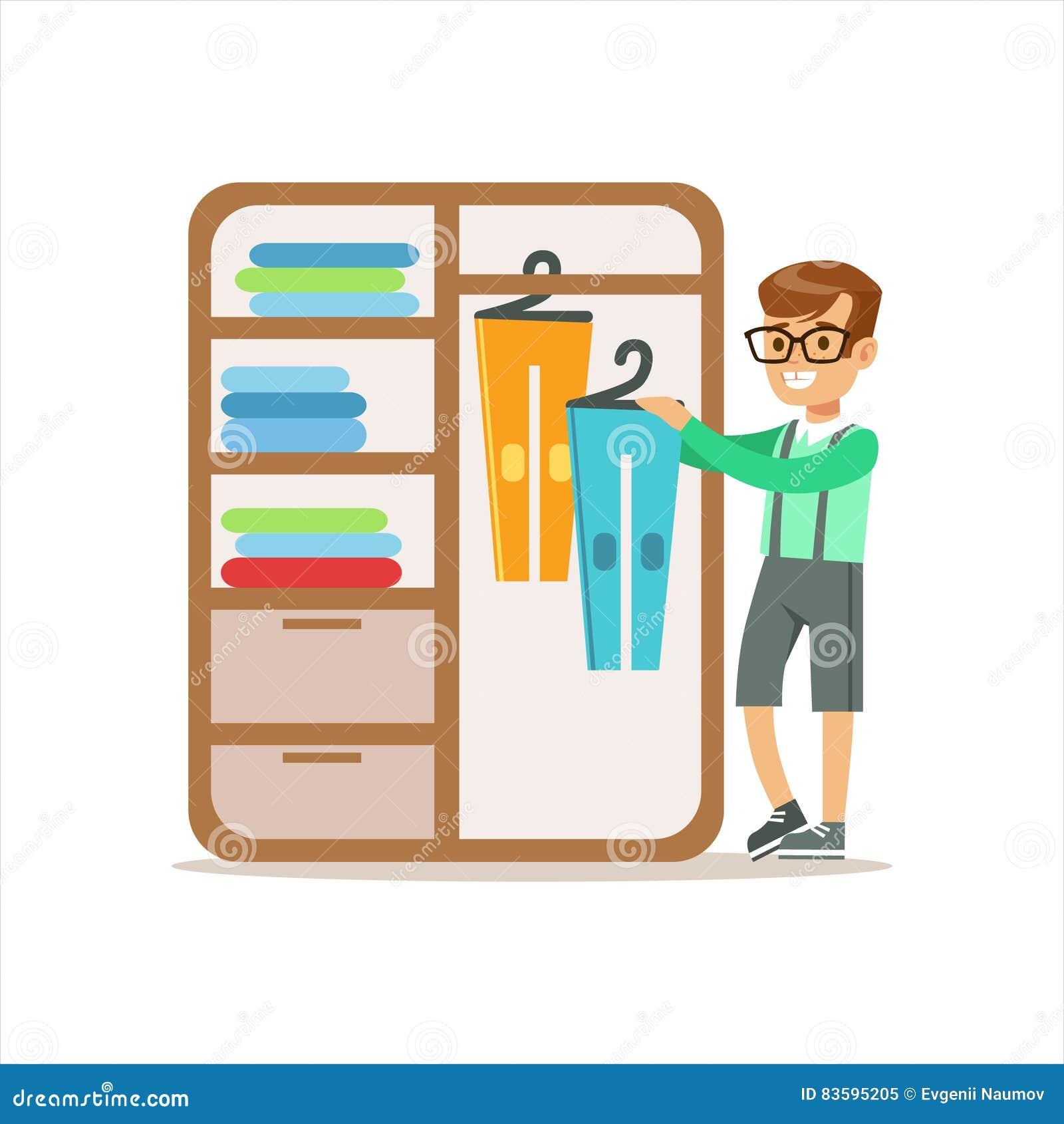 Chłopiec Rozciągać się Odziewa W Dresser kreskówki dzieciaka Uśmiechniętym charakterze Pomaga Z Housekeeping I Robi Domowemu Clea