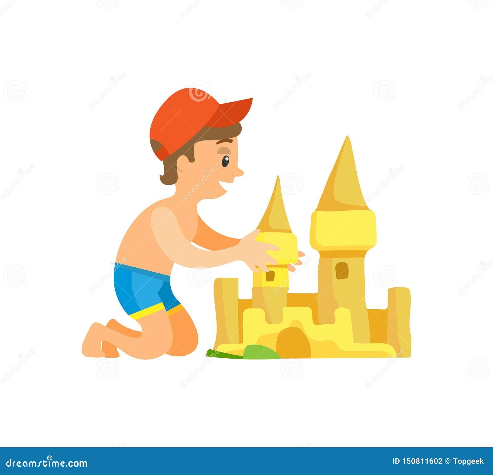 Chłopiec w pływanie bagażnikach i nakrętka budynku piaska kasztelu