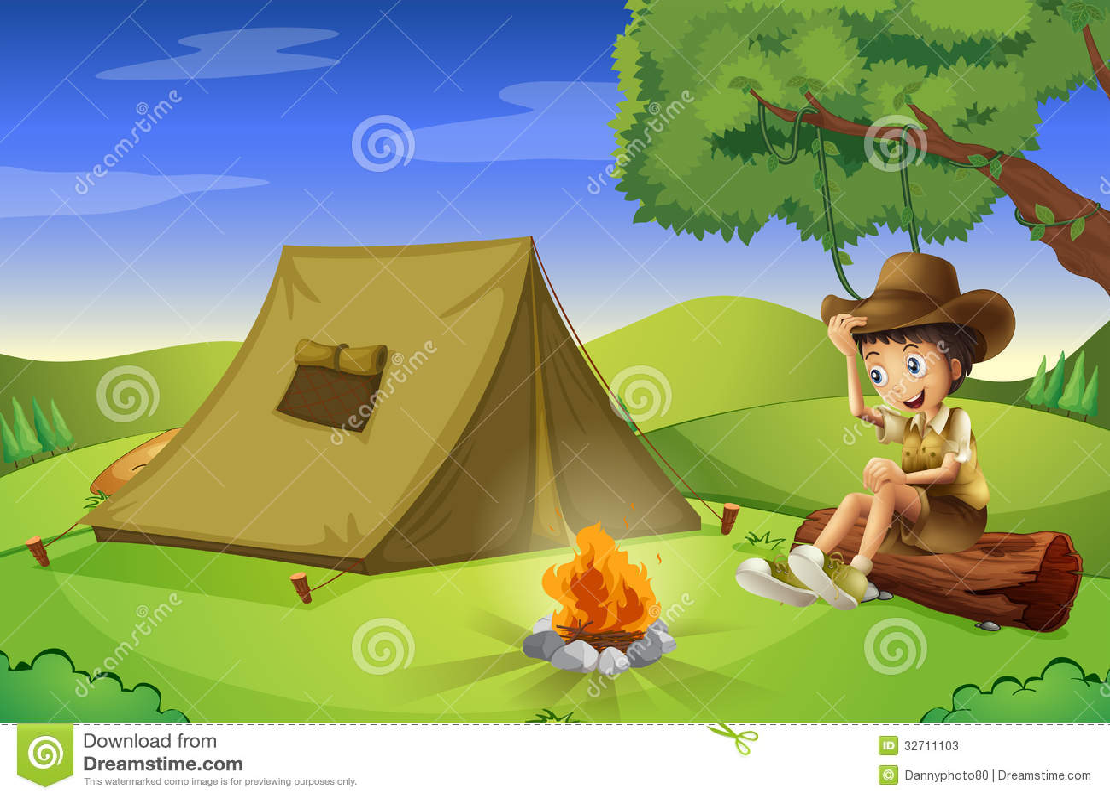 Chłopiec z namiotem i obozowym ogieniem