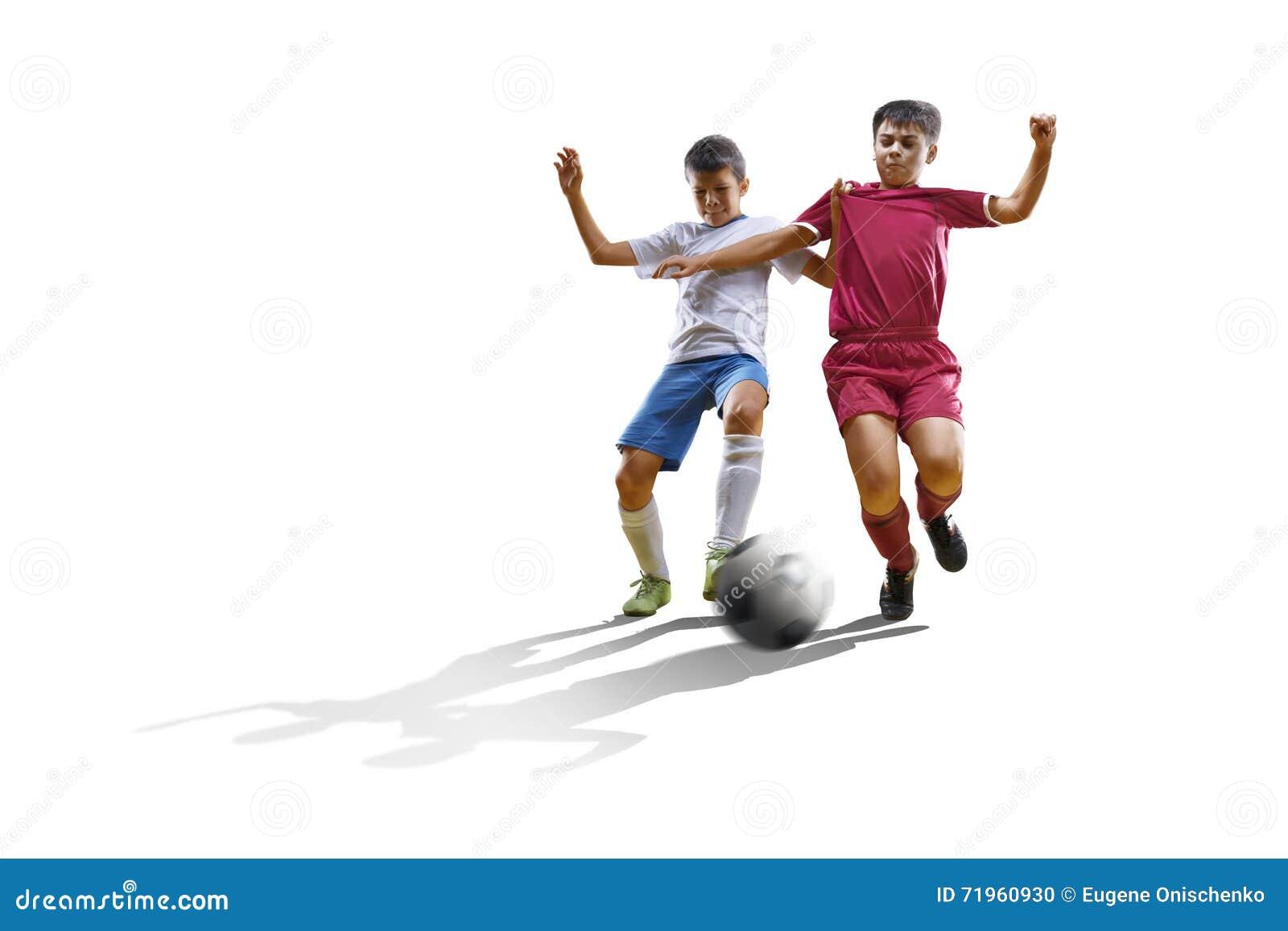 Chłopiec z piłki nożnej piłką, futbolista na białym tle odosobniony
