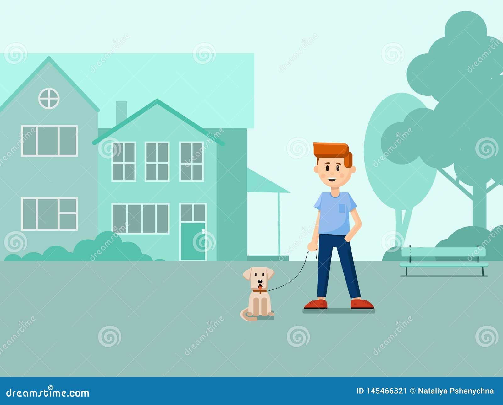 Chłopiec z psem na ulicie P?aska ilustracja