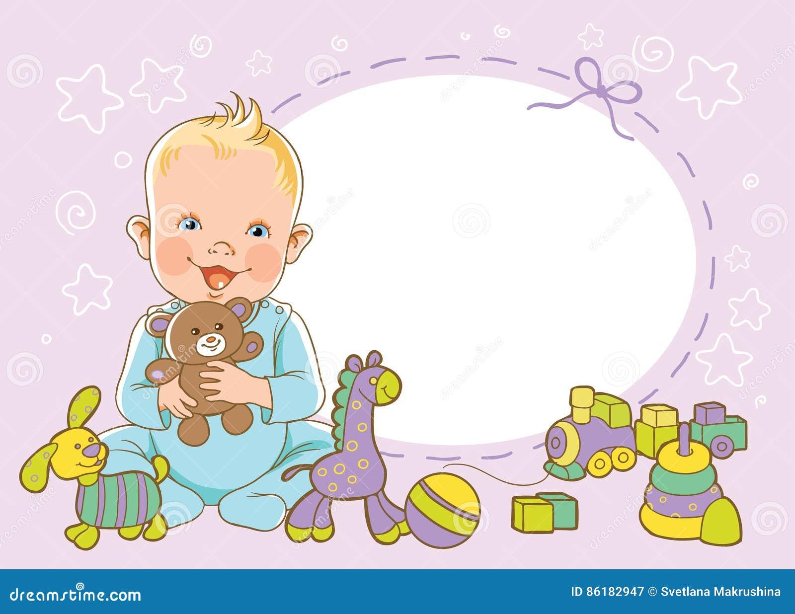Chłopiec z zabawkami Zaproszenie szablon Wektor, ilustracja wita