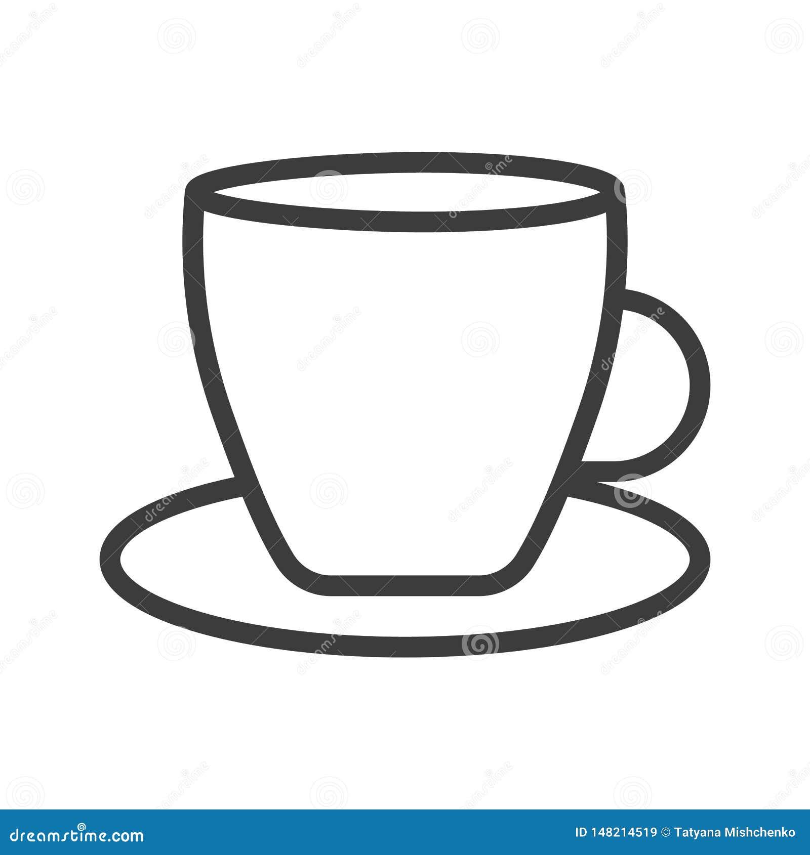Ch? da x?cara de caf? com linha de vapor preto do ?cone no branco