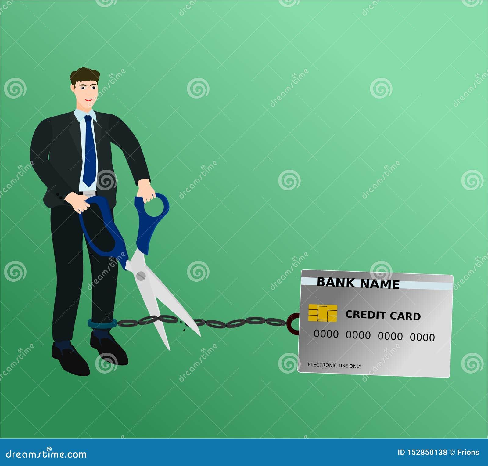 Chaîne de carte de crédit de charge de coupe d homme d affaires avec des ciseaux