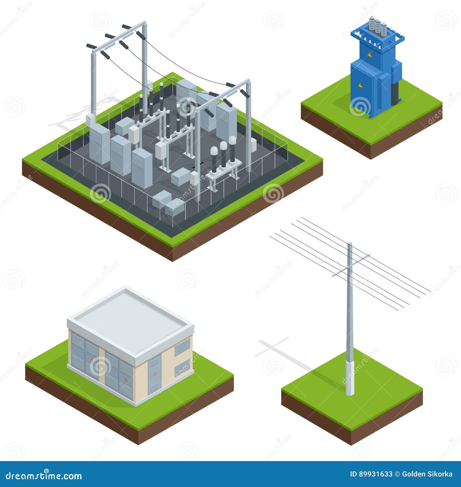 Chaîne de distribution d usine d énergie électrique Communication, ville de technologie, électrique, énergie Vecteur isométrique