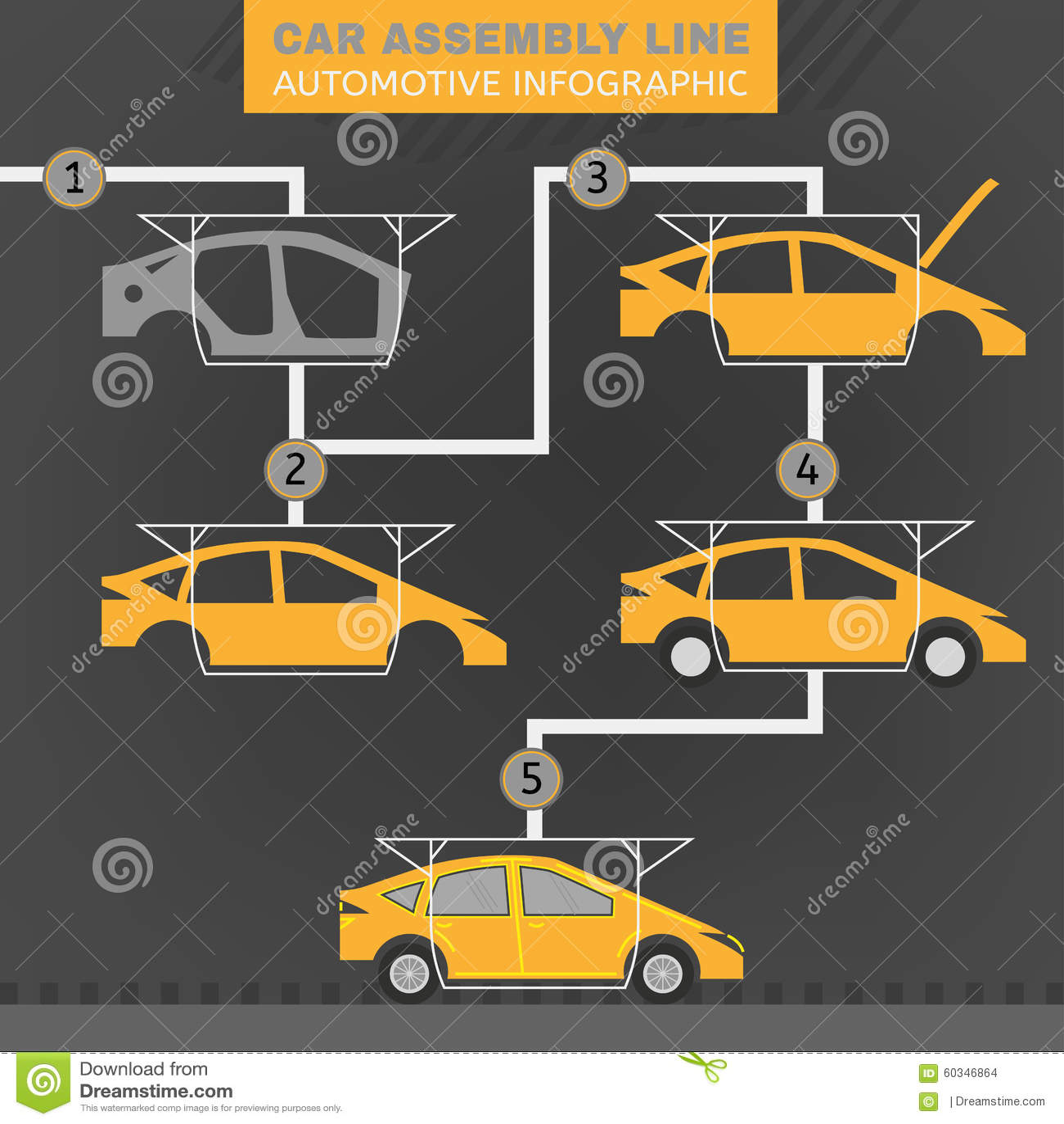 cha ne de montage de voiture illustration de vecteur illustration du machine garage 60346864. Black Bedroom Furniture Sets. Home Design Ideas