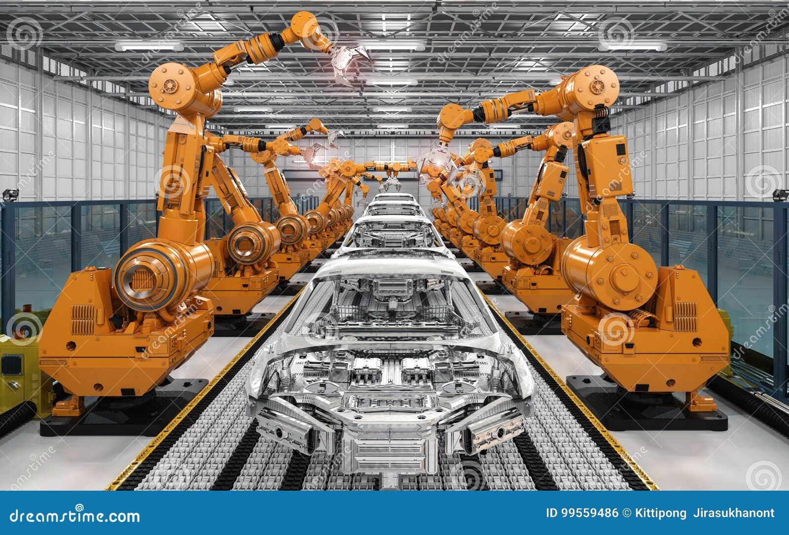 cha ne de montage de robot dans l 39 usine de voiture illustration stock illustration du produit. Black Bedroom Furniture Sets. Home Design Ideas