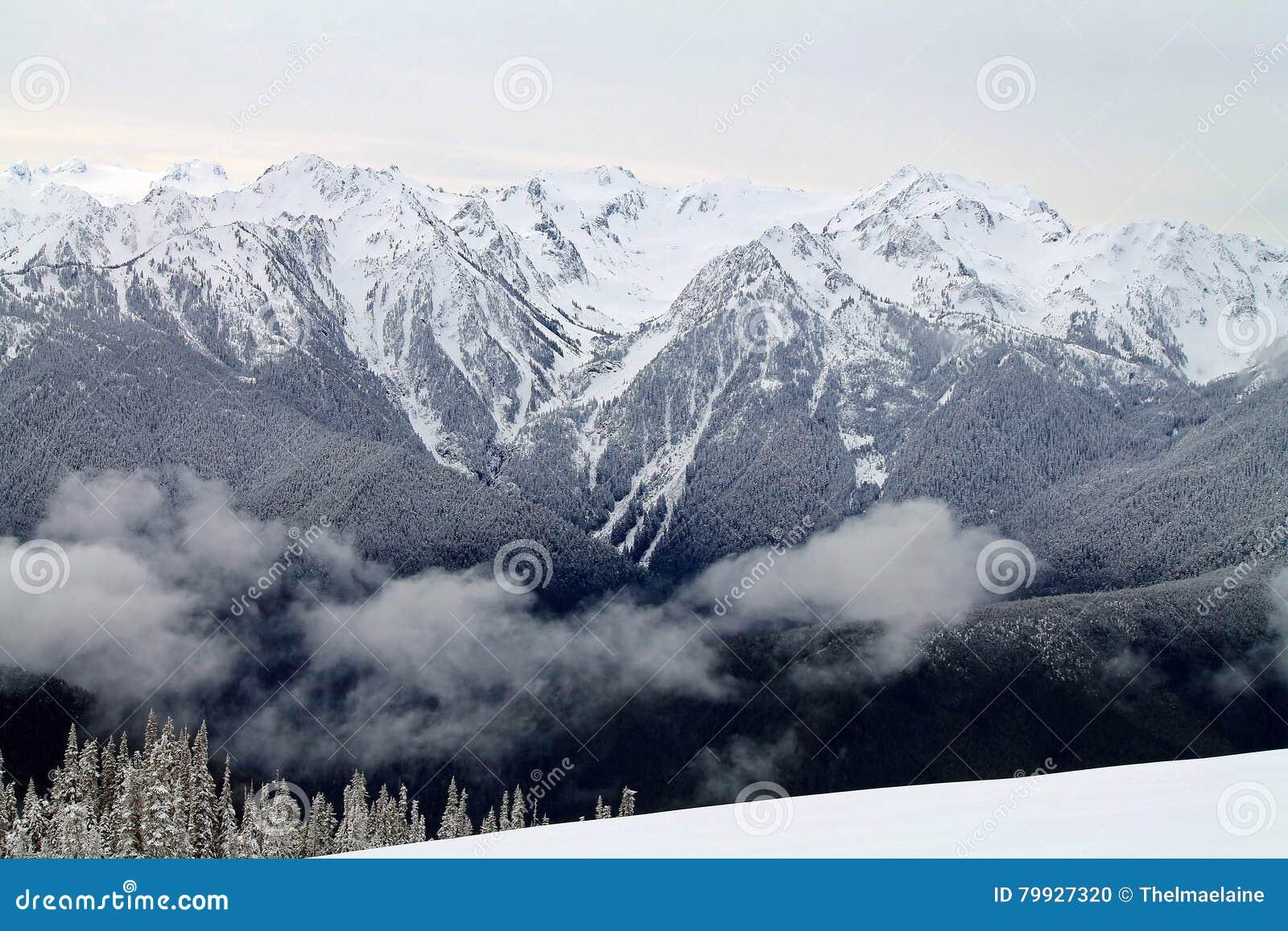 Chaîne de montagne couronnée de neige au delà d un champ de Milou