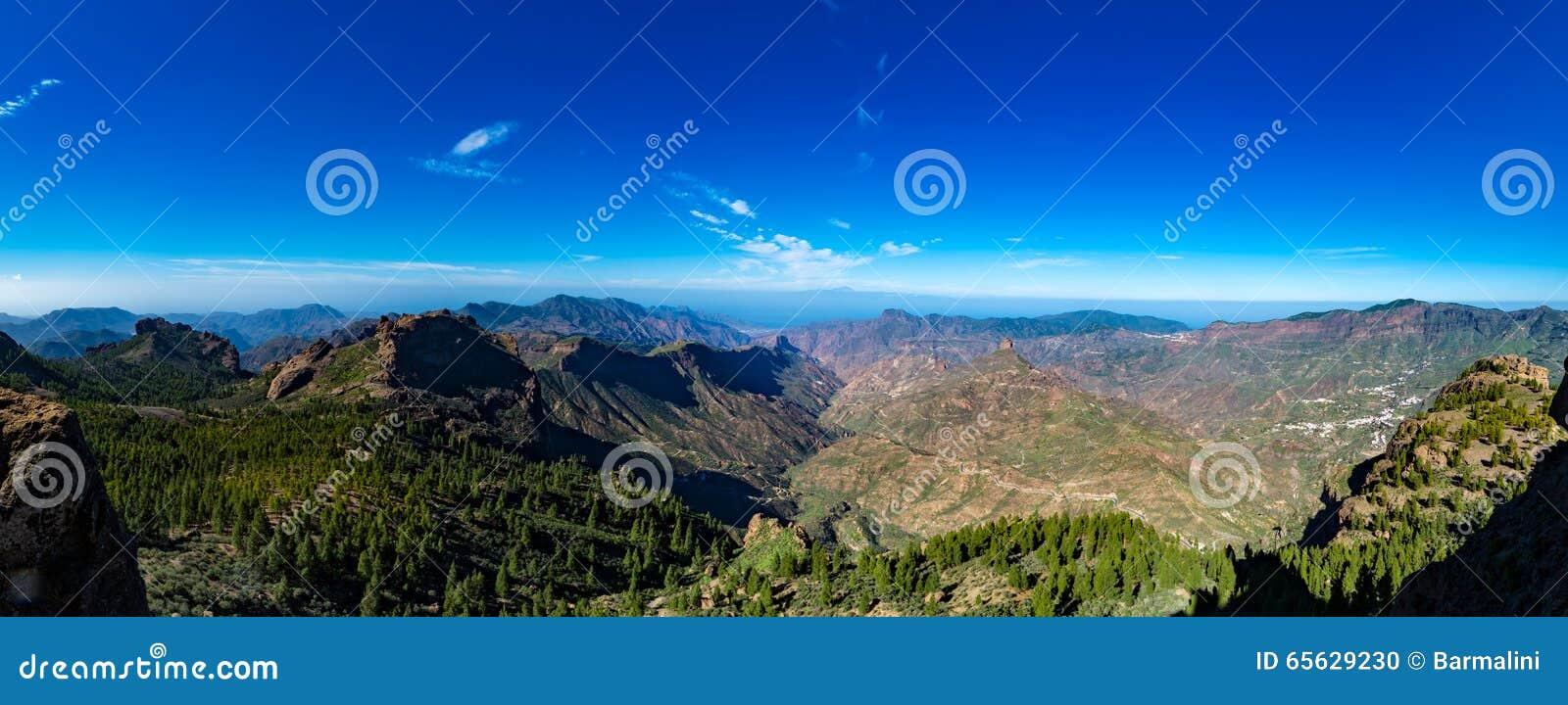 Chaîne de montagnes, vue de Pico de las Nieves, mamie Canaria, Espagne