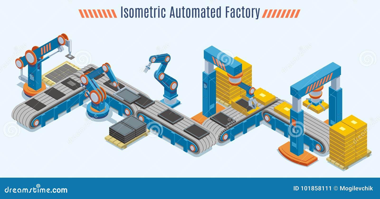 Chaîne de production automatisée isométrique concept