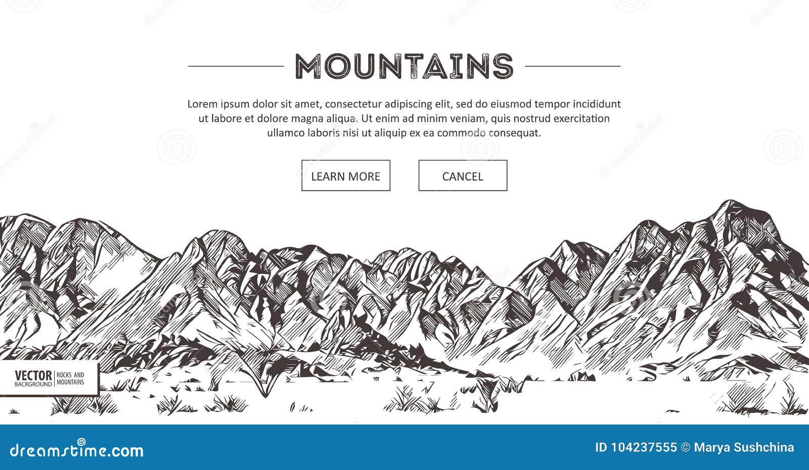Cha nes de montagnes croquis de nature dessin en pi de - Main en dessin ...