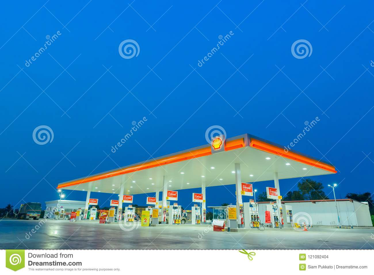 Chachoengsao, Thailand - Jan 28, 2018: Shell gas station blue sk