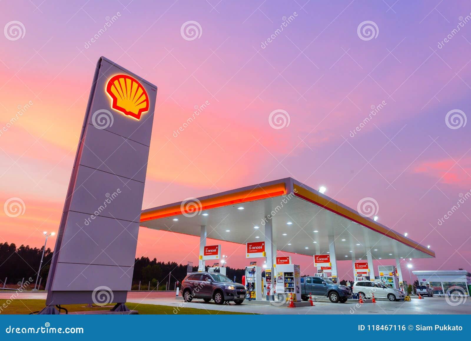Chachoengsao, Thailand - Jan 28, 2018: Shell gas station.