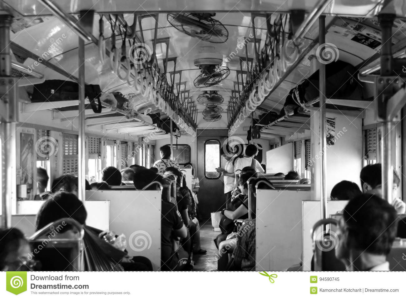 CHACHOENGSAO, THAILAND - MARCH 13, 2016: Black and white picture of passengers