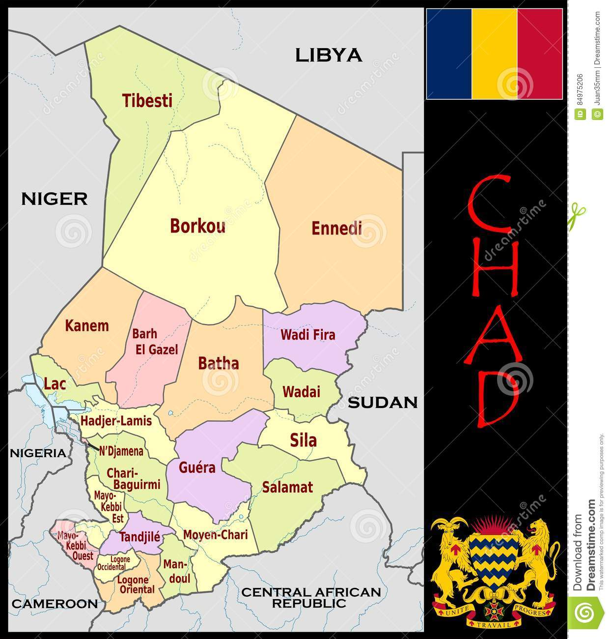 Chad Administrative Divisions Stock Illustration Illustration of
