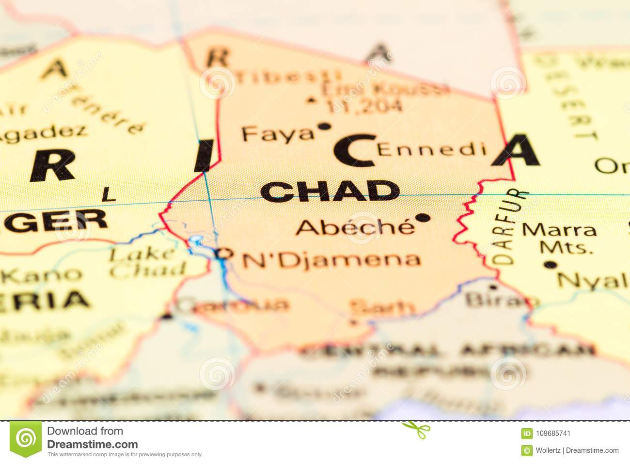 Chad on a map stock image. Image of flying, africa, worldly - 109685741