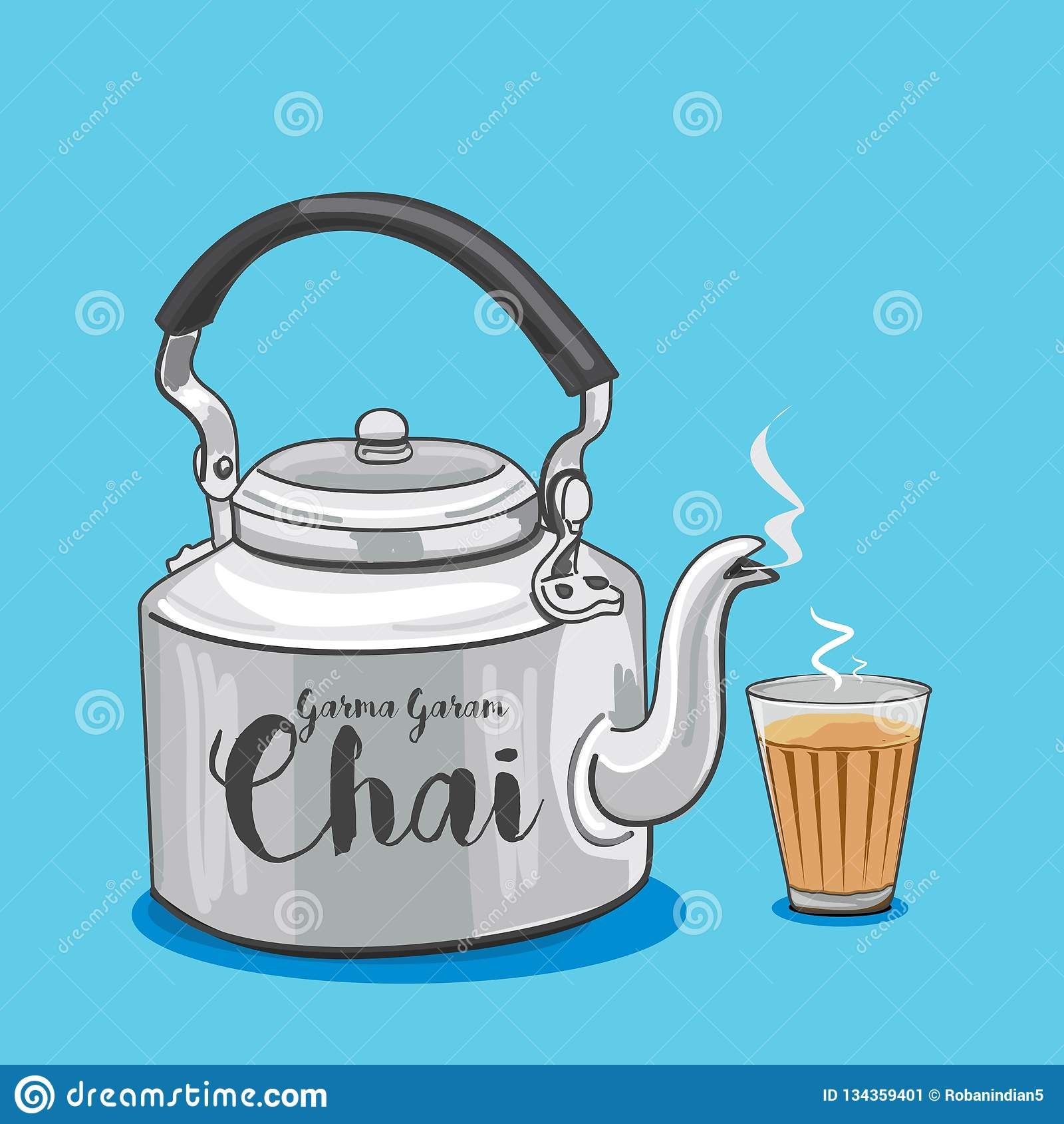 Indian Traditional Tea Pot Or Kettle Vector Illustration