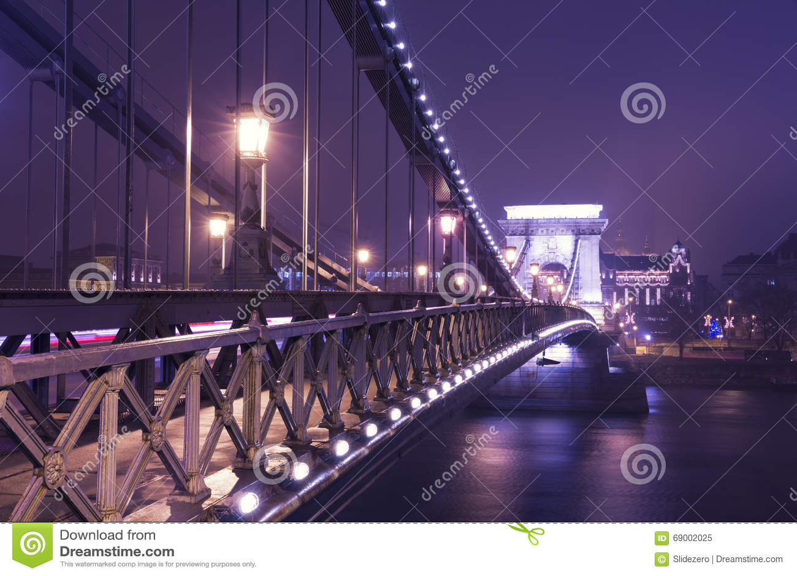The Chain Bridge At Night, Budapest