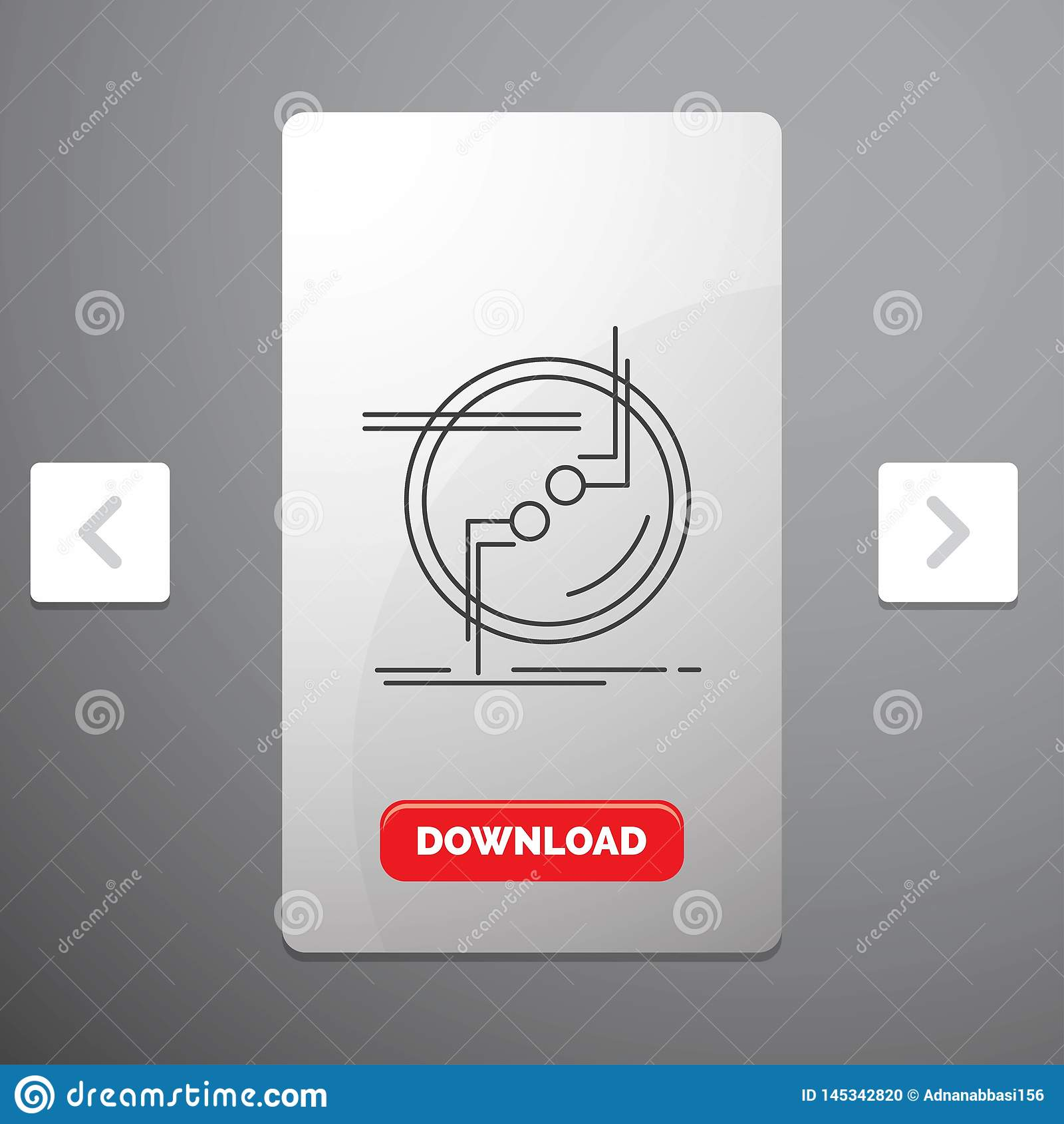 chain, connect, connection, link, wire Line Icon in Carousal Pagination Slider Design & Red Download Button