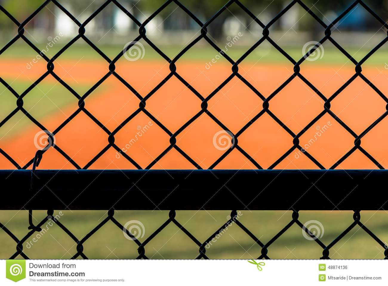 Chain Link Fence At Baseball Field Stock Photo Image