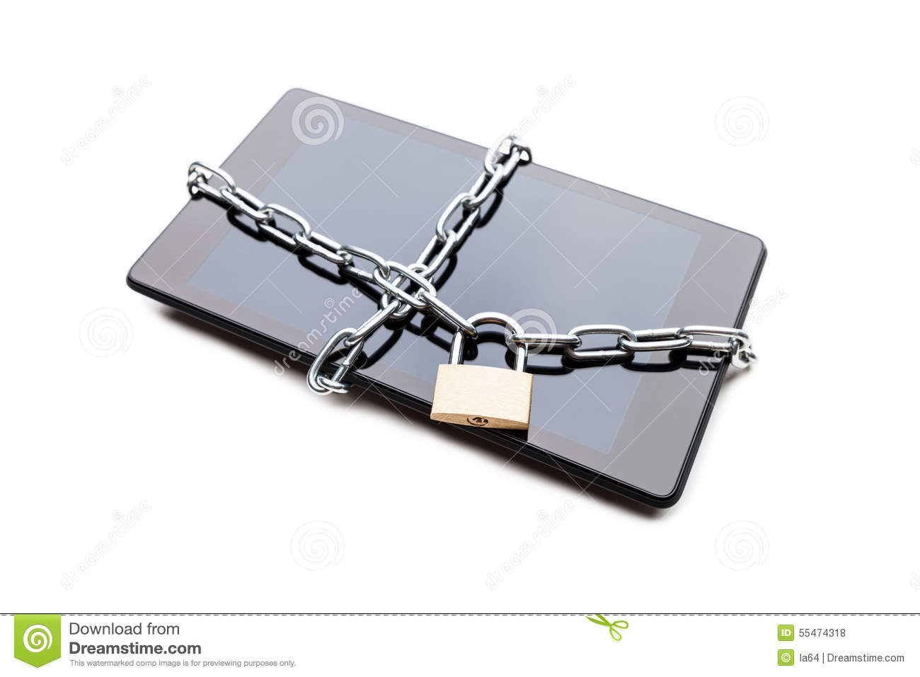 Chain link with padlock on smartphone or digital tablet for Concept metal