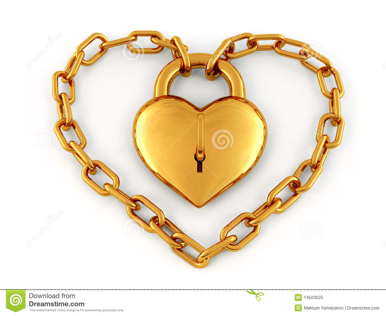 Chain With Lock As Heart Royalty Free Stock Photo - Image ...
