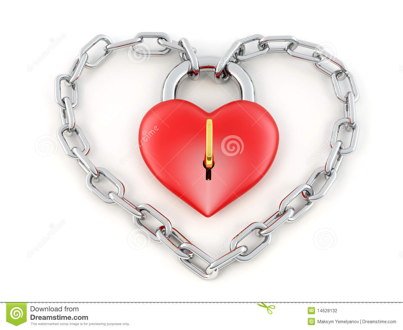 Chain With Lock As Heart Stock Photography - Image: 14628132
