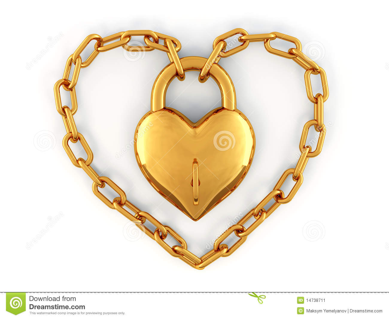 Chain With Lock As Heart Stock Image - Image: 14738711