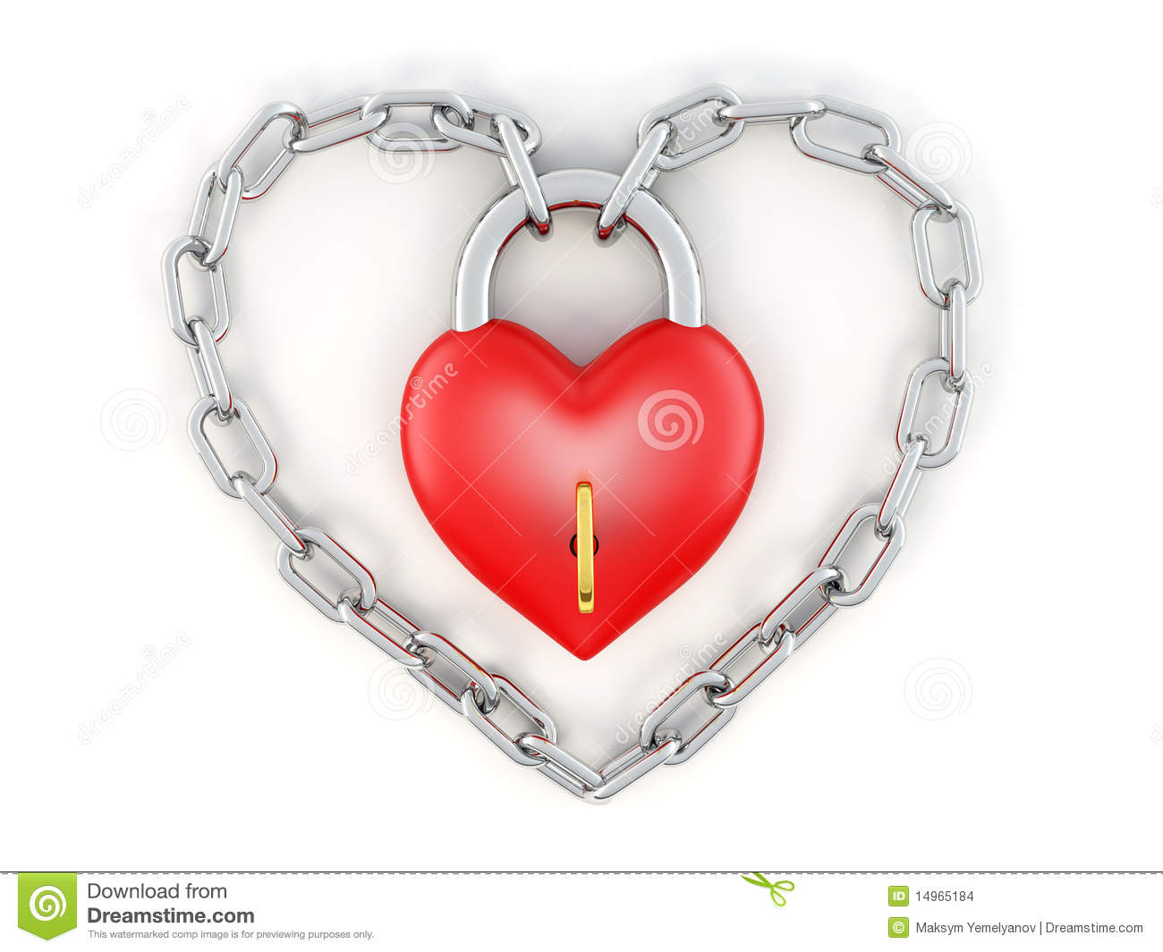 Chain with lock as heart stock illustration. Illustration ...