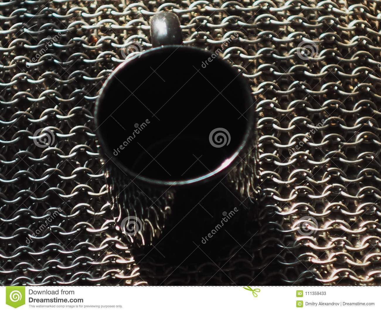 Metal Rings Woven Together Background Metal Mug Stands Stock Image