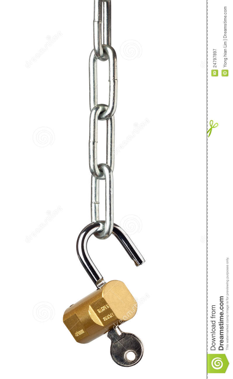 Chain and open lock royalty free stock photography image 24797897 - How to open chain lock ...