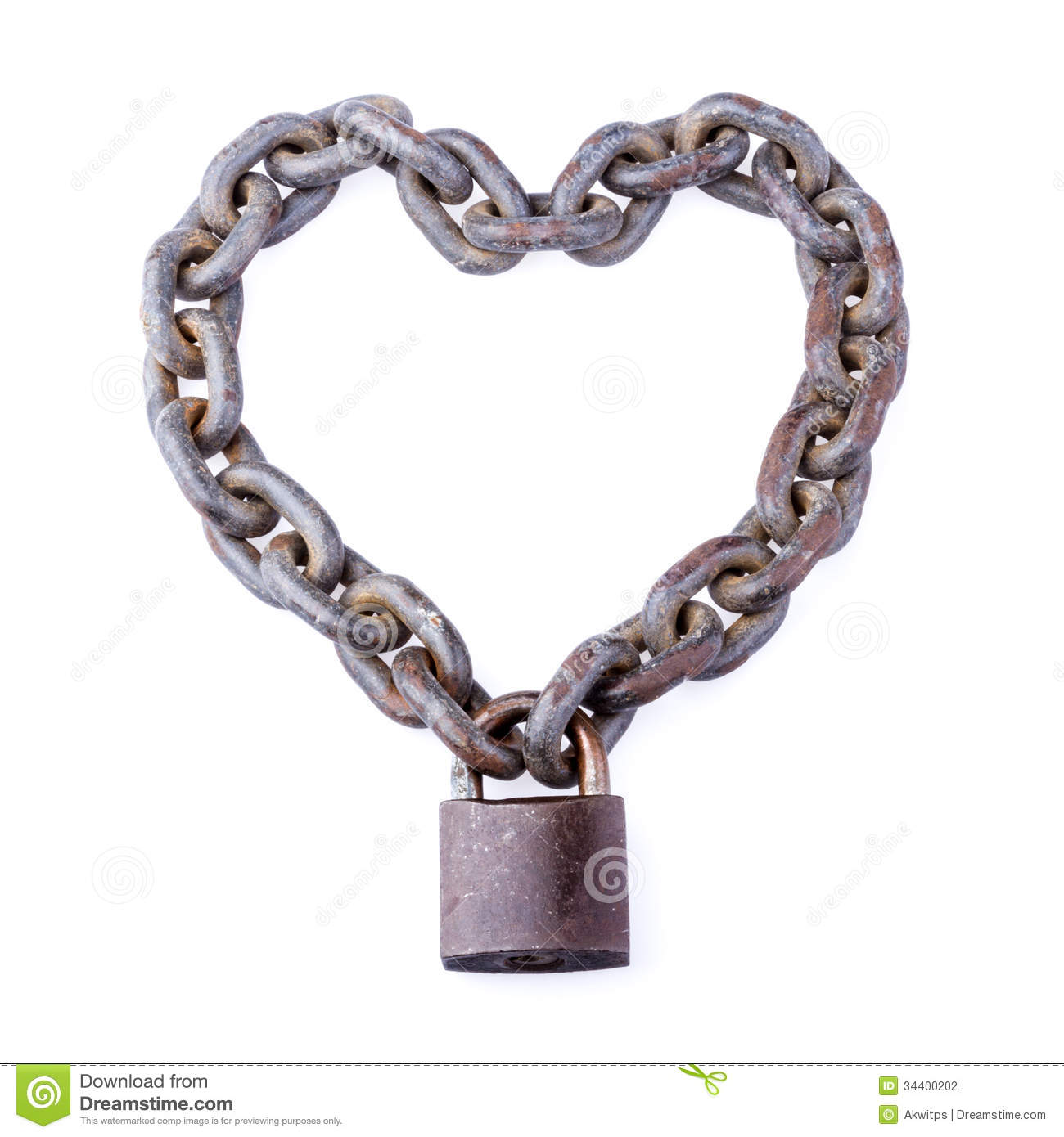 Chain And Padlock In Heart Shape Stock Photography - Image ...
