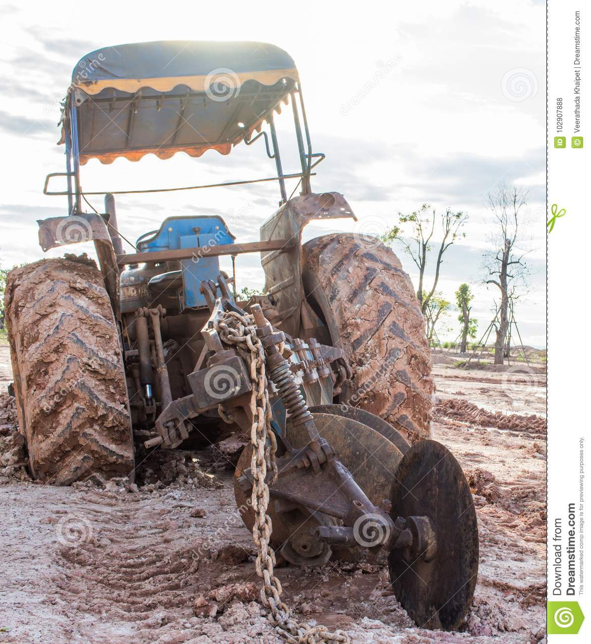 Tractor Stuck In The Mud Stock Image